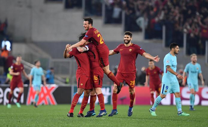 AS Roma viert de 3-0 zege op Barcelona. Na de 4-1 uitnederlaag gaan de Italianen in 2018 naar de halve finale.