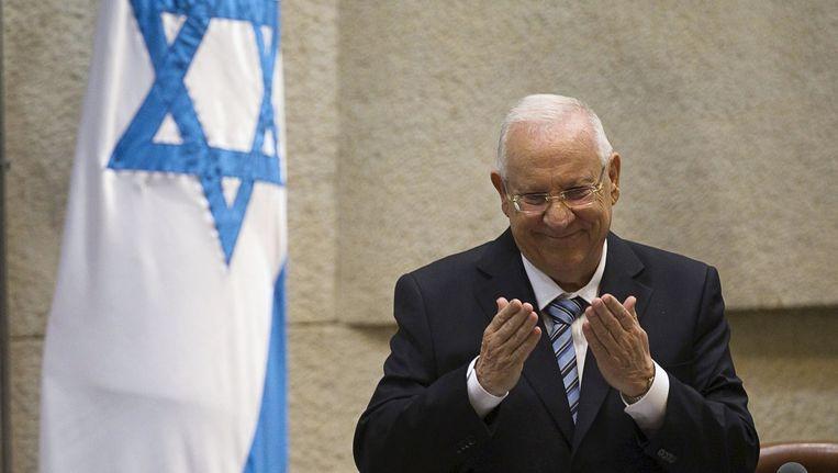 Israëlisch president Reuven Rivlin tijdens de eedaflegging in het parlement in Jerusalem.