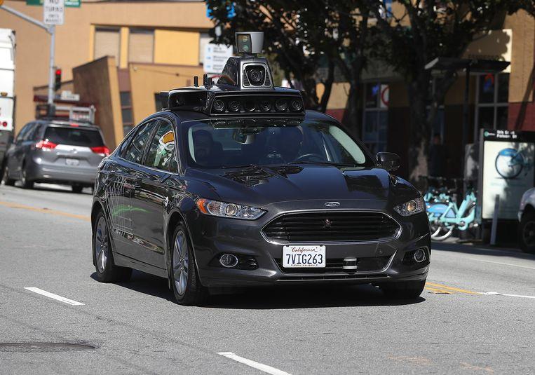 Een zelfrijdende Uber in San Francisco, Californië. Beeld AFP