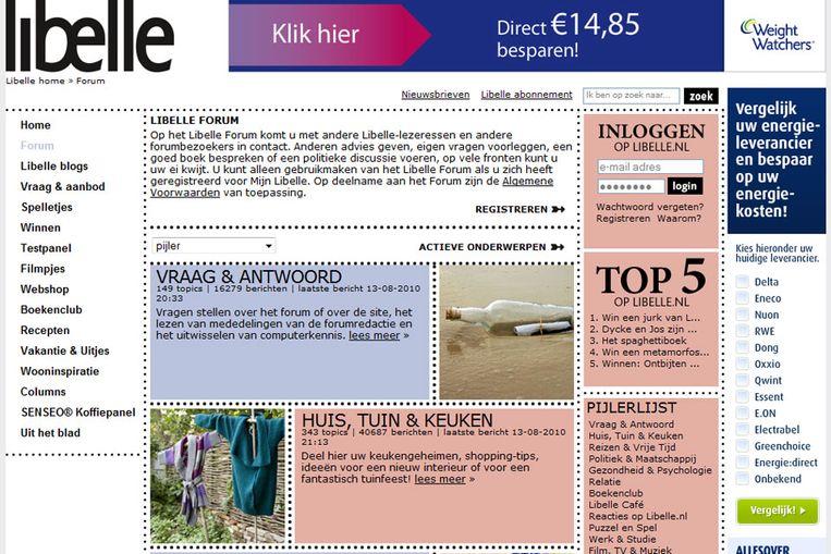 Forum van Libelle. (Screenshot) Beeld