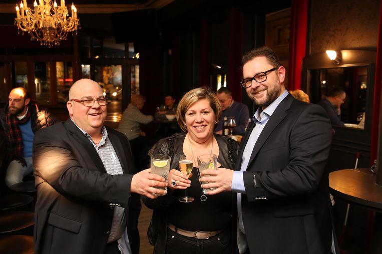 Koen Tieghem, zijn vrouw Vicky Vanacker en Pascal Pannecoucke