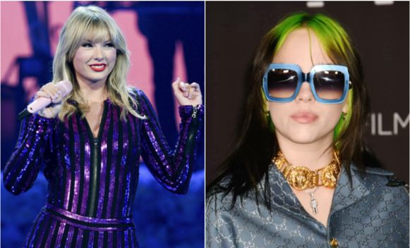 Taylor Swift (links) en Billie Eilish.