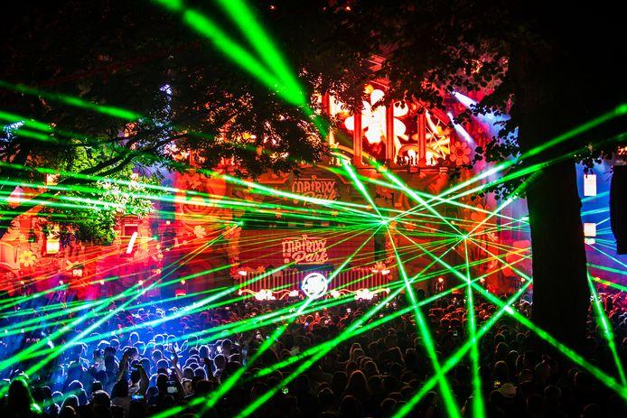 Lasershow bij Matrixx at the park tijdens de Vierdaagsefeesten in 2019.