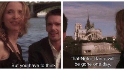 """""""Bedenk wel dat de Notre-Dame er ooit niet meer zal zijn"""": filmdialoog uit 'Before Sunset' wordt druk gedeeld"""