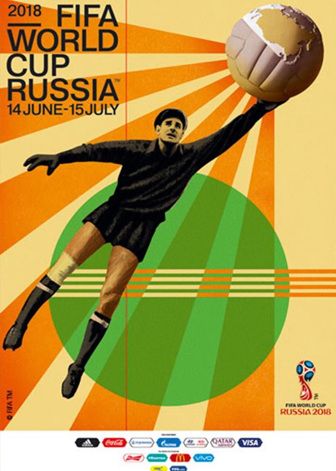 De poster van het WK voetbal van volgend jaar in Rusland.