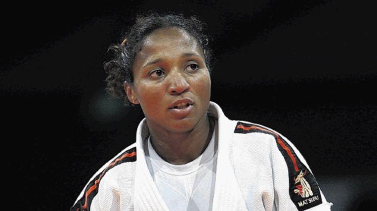 Deborah Gravenstijn tijdens haar verloren partij tegen de Franse Morgane Ribout. (ANP) Beeld ANP