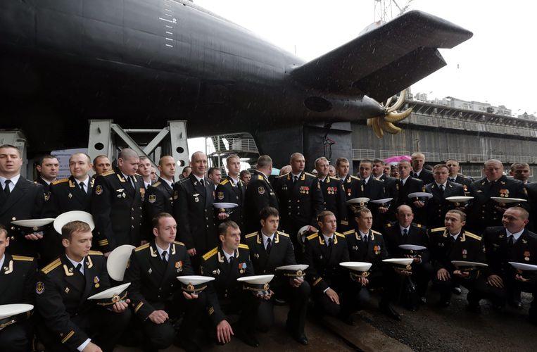 In augustus werd een van Ruslands nieuwste onderzeeboten, de Stary Oksol, te water gelaten. Beeld epa