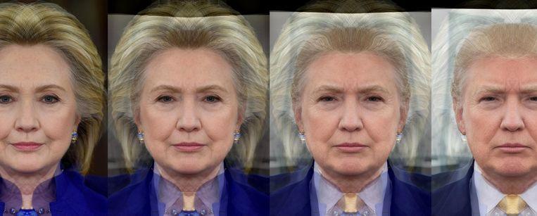 Een morph van Hillary Clinton naar Donald Trump. Beeld Allen Grabo
