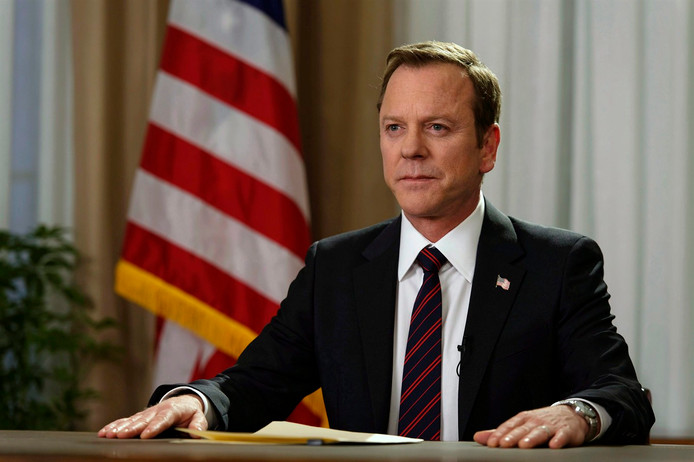 """In this image released by ABC, Kiefer Sutherland portrays Tom Kirkman in a scene from, """"Designated Survivor."""