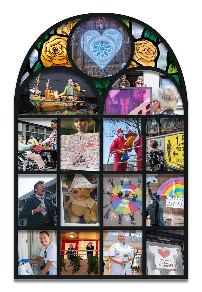 Een graphic van hoe het raam er uit kan komen te zien, met foto's van steunbetuigingen die zijn geplaatst of ingestuurd naar het BD.