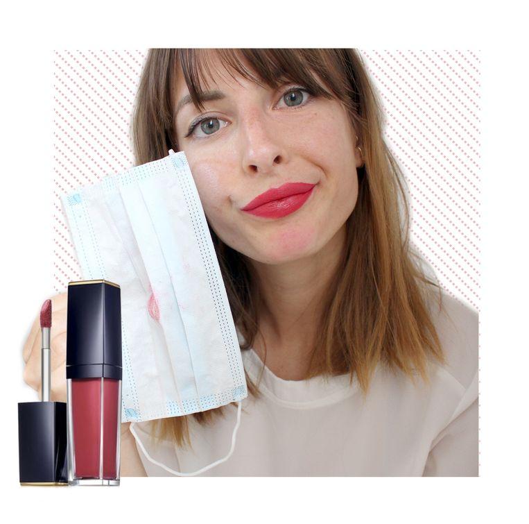 Estee Lauder Pure Color Envy Paint-On Liquid Lipcolor: nog altijd op mijn lippen, maar helaas ook op mijn mondmasker en kin.