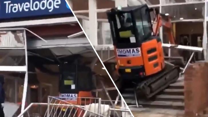 Woedende bouwvakker ramt gloednieuw hotel