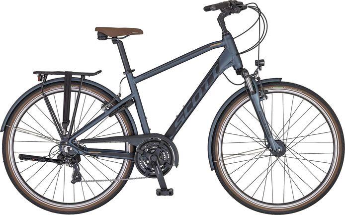 Ilias rijdt met deze fiets, een Sub Comfort 20 Men van het merk Scott.