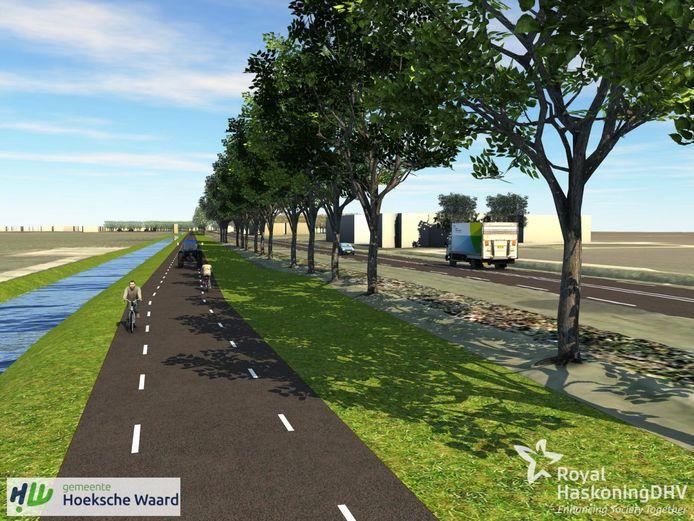 Op een van de twee varianten is het fietspad ingetekend op de rijbaan.