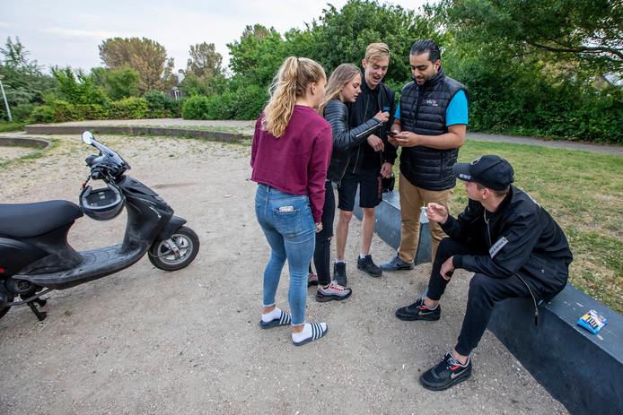 Manou, Romy, Dico, Ali en Jurian in het Zandeveltpark in 's-Gravenzande.