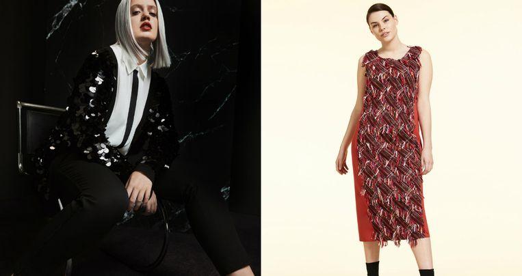 Links: campagnebeeld van Mango. Rechts: Marina Rinaldi.