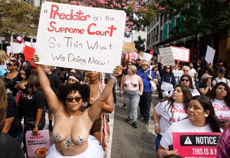 epa07074971 Marchers react to the US Senate vote on the Supreme Court nomination of Brett Kavanaugh during the 'Amber Rose SlutWalk' in Los Angeles, California, USA, 06 October 2018. This is the fourth year of the gender inequality awareness event led by the glamour model. Media reports on 06 October 2018 that the US Supreme Court nominee Brett Kavanaugh has been elected to the Supreme Court by the US Senate that voted in favour 50 to 48.  EPA/EUGENE GARCIA
