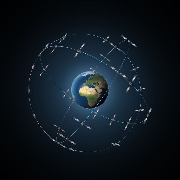 Het positiebepalingssysteem Galileo bestaat net als gps uit verschillende satellieten die om de aarde draaien. Beeld ESA-P. Carril
