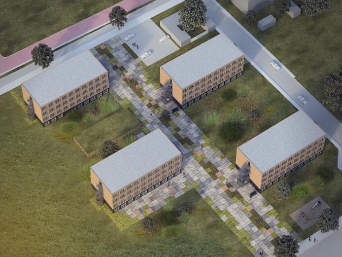 Zo gaat het complex met 300 tijdelijke studentenstudio's op het Slachthuisterrein in Eindhoven er uit zien.