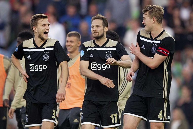 Veltman en Blin vorig seizoen, met (toen nog) teamgenoot Matthijs de Ligt.  Beeld ANP