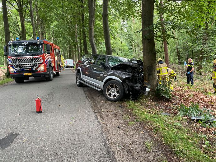 Man zwaargewond nadat hij tegen een boom rijdt.