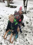 Jort  (in het midden) zit in Lunteren voor het eerst van zijn leven in de sneeuw.