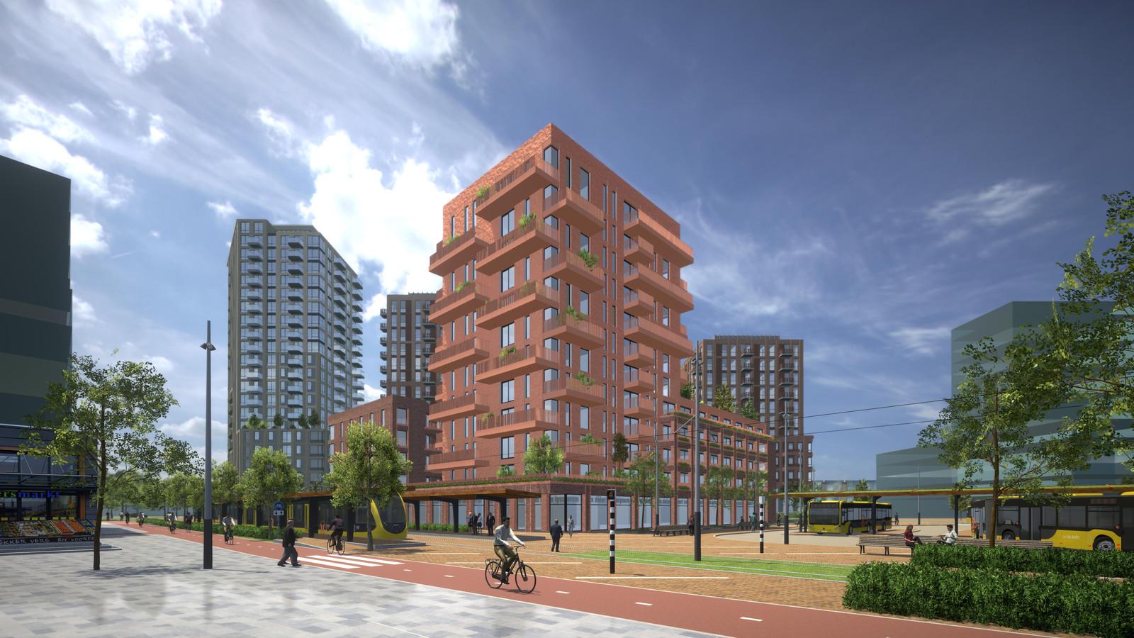 Een artist impression van het toekomstige City-west in Nieuwegein waar de komende jaren veel woningen gebouwd gaan worden.