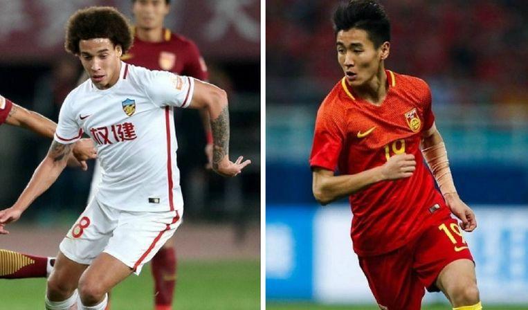 Axel Witsel heeft heel wat tatoeages, zoals op zijn linkerarm. Wei Shihao moest tegen Wales zijn tattoo op de linkerarm bedekken.