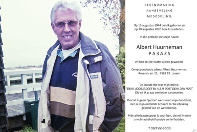 Albert Huurneman (foto), politie agent en zendamateur,  stelde zijn lichaam ter beschikking van de wetenschap. Zijn zoon Alfred vertelt daar over.