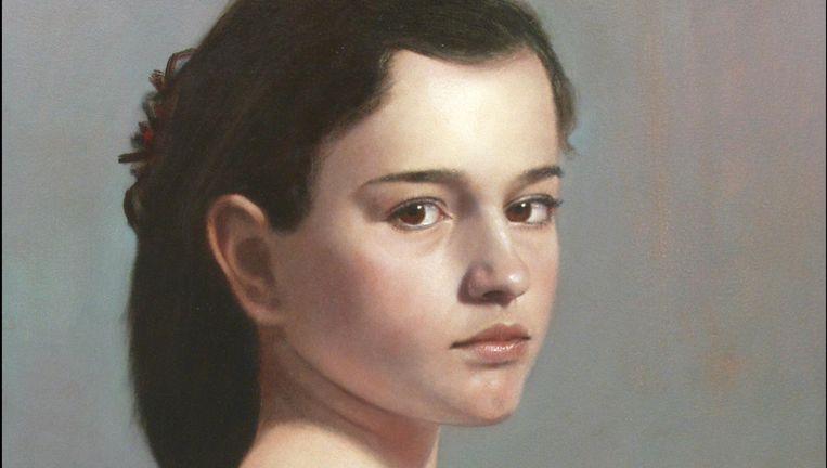 Jong meisje met sjaal (olieverf op paneel) door Scott Bartner. Beeld Shawl Large