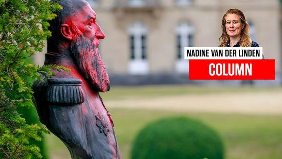 Het besmeurde standbeeld van Leopold II.