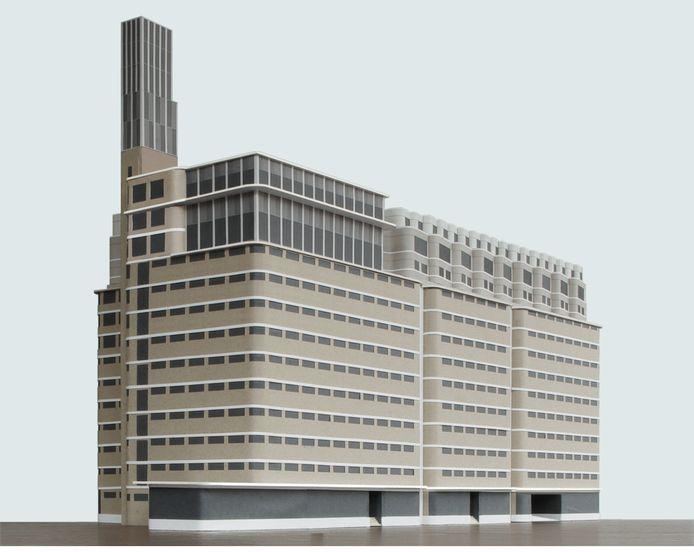Illustratie van het Veemgebouw op Strijp-S in Eindhoven met de door corporatie Trudo geplande woningbouw op het dak.