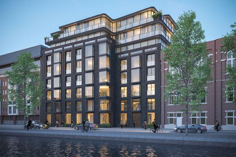 Artist impression van toekomstige appartementen in de Pieter de Hoochstraat, die met prijzen tussen de drie miljoen en zeven miljoen euro behoren tot het topsegment.  Beeld