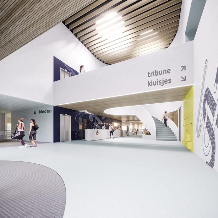Impressie: Zo komt de entree van het nieuwe binnensportcomplex van Zaltbommel eruit te zien. In zowel het zwembad als de sporthal komt een tribune voor 150 toeschouwers.