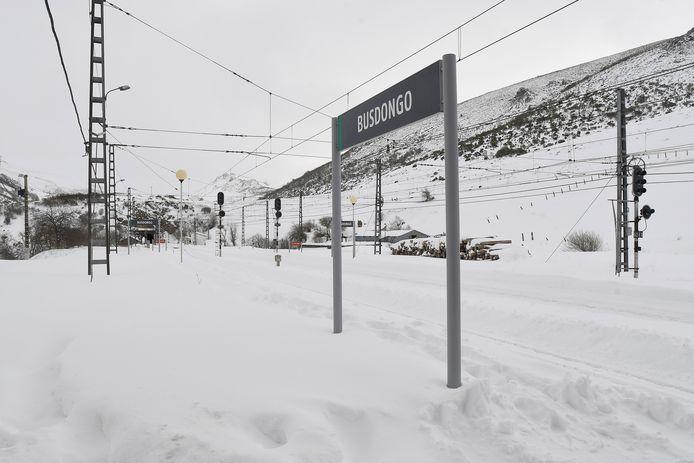 Het treinverkeer in het plaatsje Busdongo in de regio Castilië en Léon lag zondag uren stil. (1/2)