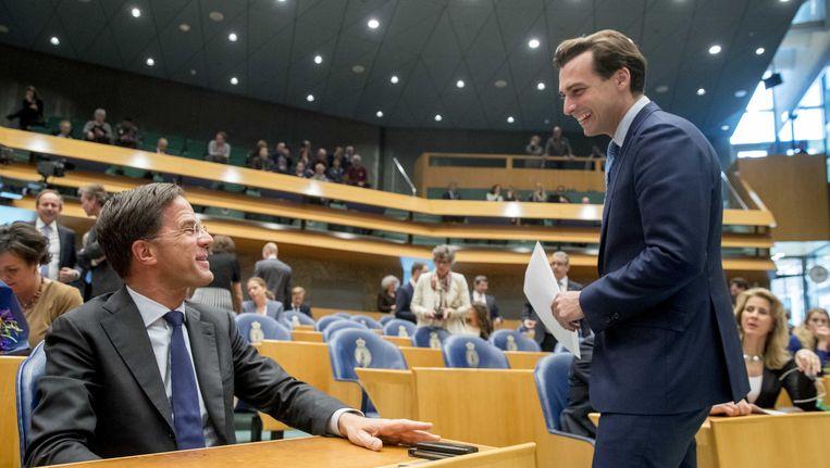 Rutte en Baudet in de Tweede Kamer. Beeld anp