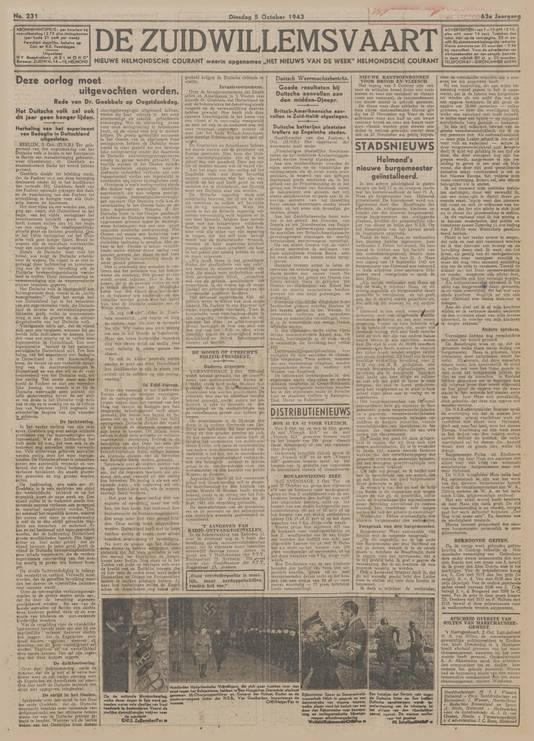 De voorpagina van De Zuidwillemsvaart van 5 oktober 1943. Onder 'Stadsnieuws' wordt bericht over de installatie van NSB-burgemeester Harmen Maas. Een foto van hem ontbreekt.