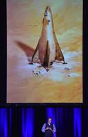 De lander van Lockheed Martin, waarmee astronauten van het basiskamp naar Mars worden vervoerd.