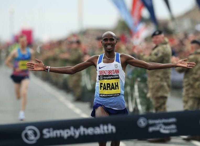 Op 10 september won Mo Farah de Great North Run, een halve marathon in South Shields, Noordoost-Engeland. Beeld AFP