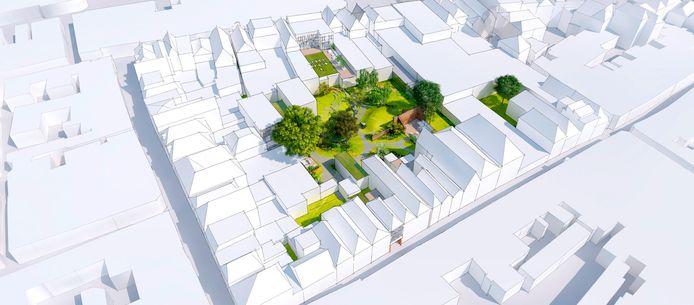 Zo ligt de Stadshof ingeklemd tussen Korte B., Lange B. en Grote Overstraat in de binnenstad.