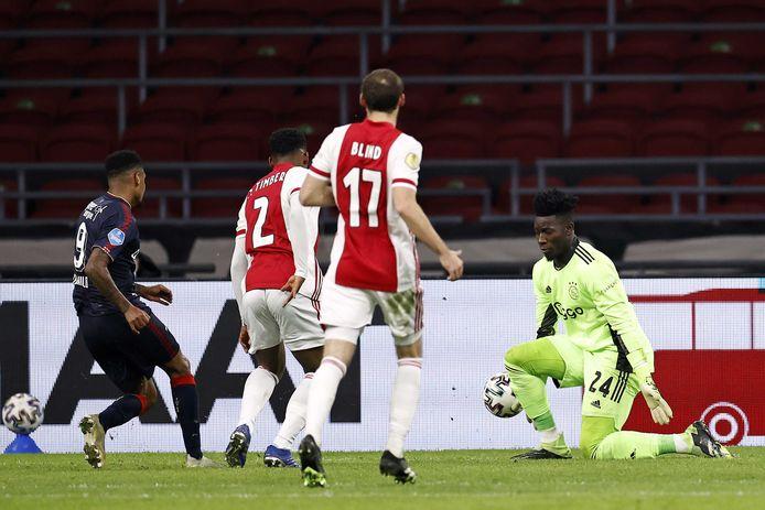 Danilo verzuimt de wedstrijd in het slot te gooien. Doelman Andre Onana redt met zijn been.