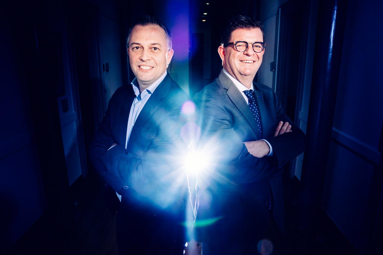 De twee topfavorieten in de Open Vld-voorzittersrace: Egbert Lachaert (l.) en Bart Tommelein.